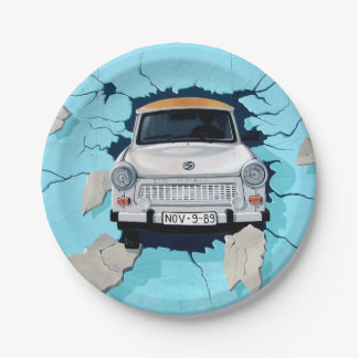 Car crosses a wall 7 inch paper plate