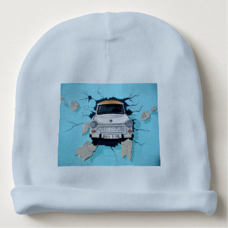 Car crosses a wall baby beanie