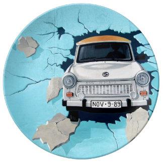 Car crosses a wall porcelain plate