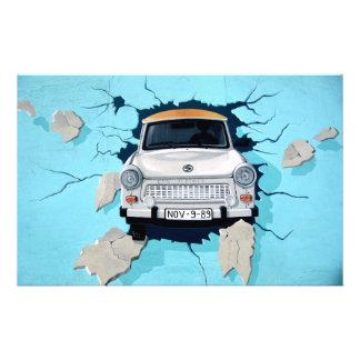 Car crosses a wall stationery