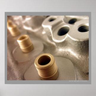 Car Cylinder Head Metallic Geometric Design Poster