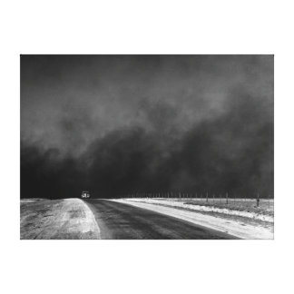 Car Driving The Texas Panhandle in the Dust Bowl Canvas Print