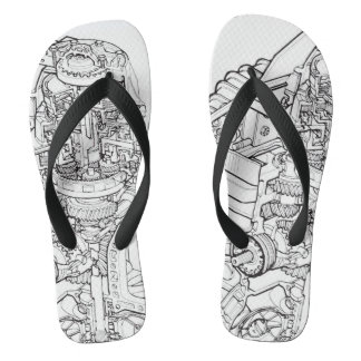 Car Engine Graphics Drawing Flip Flops