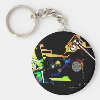 Car engine basic round button keychain