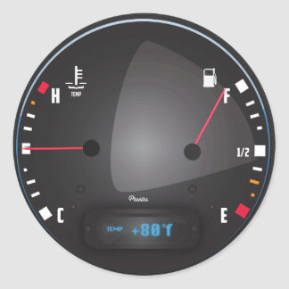 Car fuel and Temperature dashboard Dial Round Sticker