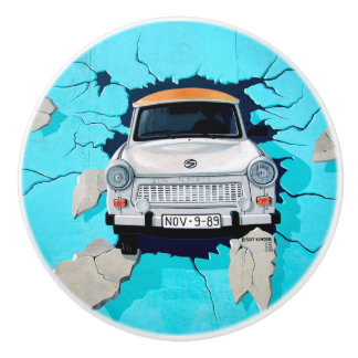 Car going through Wall Street Art Graffiti Knob Ceramic Knob
