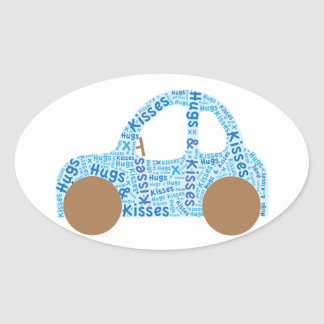 Car Hugs and Kisses Oval Sticker
