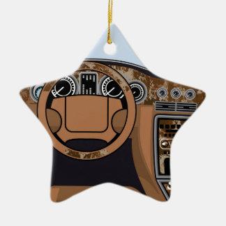 Car interior Wood Trim Vector Ceramic Star Ornament
