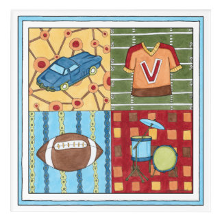 Car, Jersey, Football and Drum Kit Acrylic Wall Art