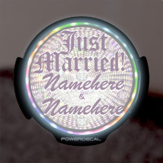 Car LED Wedding Lights Just Married! Add Names! LED Window Decal