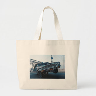 Car Low Rider Vintage Oldschool Automotive Driving Large Tote Bag