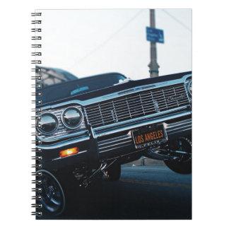 Car Low Rider Vintage Oldschool Automotive Driving Notebook