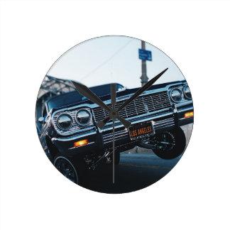 Car Low Rider Vintage Oldschool Automotive Driving Round Clock