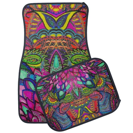 Car Mat Psychedelic Illusion Zen Tangle
