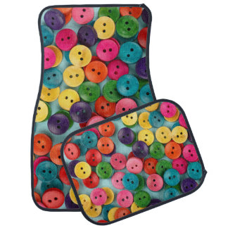 Car Mats Full Set print with colorful buttons