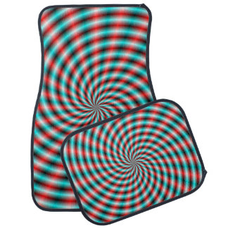 Car Mats  Turquoise and Red Spiral Rays