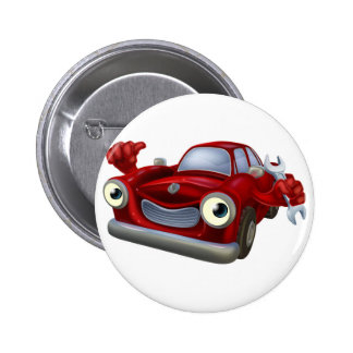 Car mechanic character 2 inch round button
