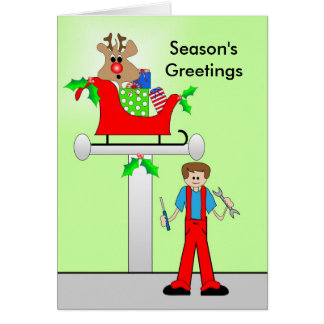 Car Mechanic Christmas Design Card