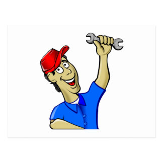 Car Mechanic Holding a Wrench Postcard