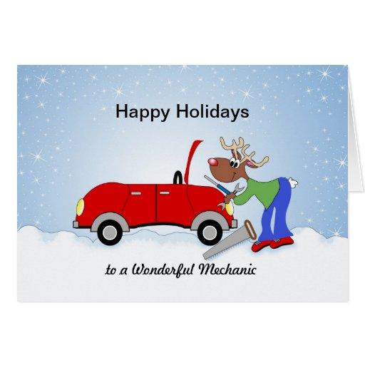 Car Mechanice Reindeer Fixing Red Car Cards