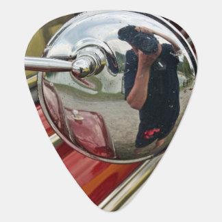 Car mirror reflection guitar pick