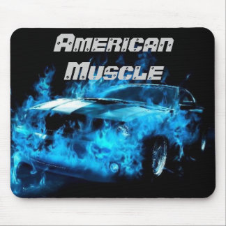 Car on Blue Flames American Muscle Mousepad