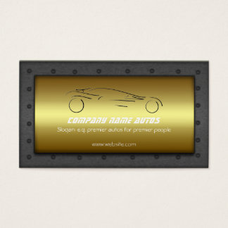 Car on Golden Plate, steel frame - Sportsauto logo Business Card