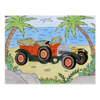 car on the beach postcard
