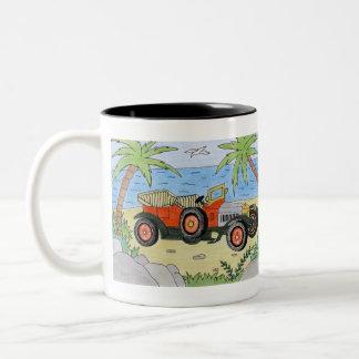 car on the beach Two-Tone coffee mug