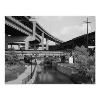 Car overpass train overpass and canal in Richmond Poster