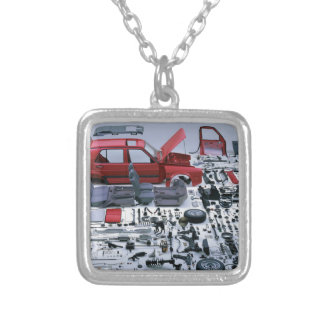 Car Parts Silver Plated Necklace