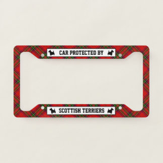 Car Protected By Scottish Terriers License Plate Frame