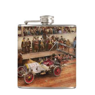 Car Race - Racing to get gas 1908 Hip Flask