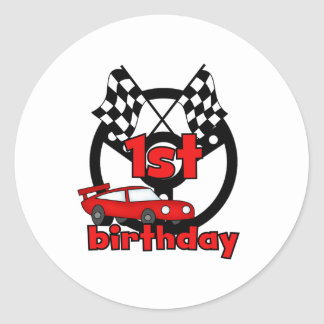 Car Racing 1st Birthday Round Sticker