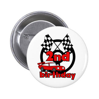 Car Racing 2nd Birthday Tshirts and Gifts 2 Inch Round Button