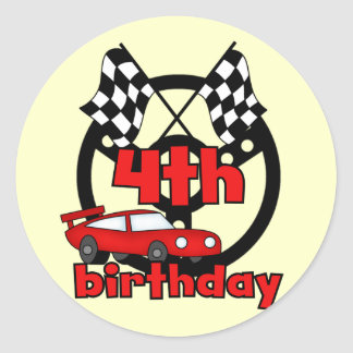 Car Racing 4th Birthday Tshirts and Gifts Round Sticker