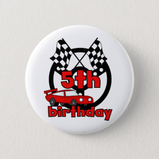 Car Racing 5th Birthday Tshirts and Gifts 2 Inch Round Button
