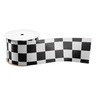 Car Racing / Chess Pattern + your backgr. & text Satin Ribbon