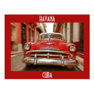 Car racing in the streets of old Havana, Cuba Postcard