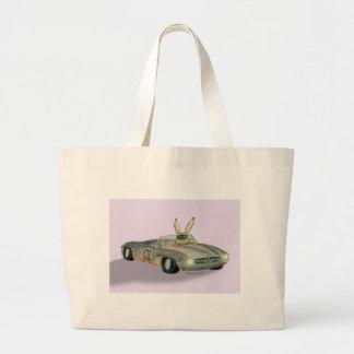 Car Racing Rabbit Large Tote Bag