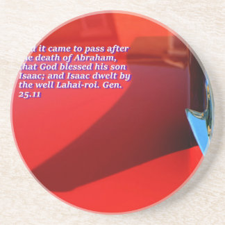 Car reflection with text drink coaster