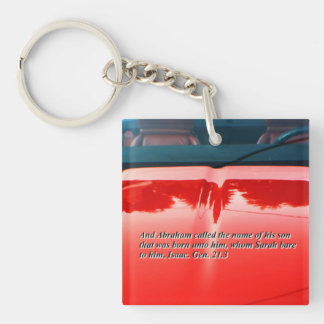 Car reflection with text key chain