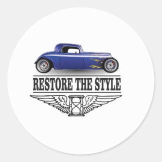 car restore the style round sticker