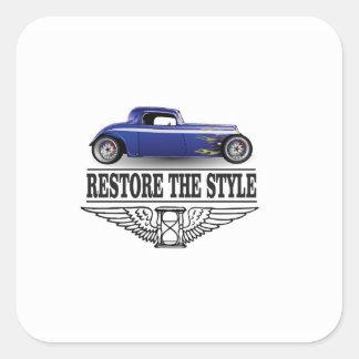 car restore the style square sticker