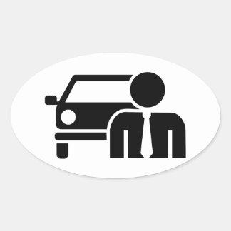 Car salesman oval sticker