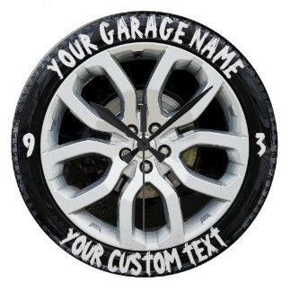 Car Service Repair Garage Owner Tire Wheel Custom Large Clock
