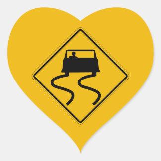 Car Slippery When Wet, Traffic Warning Sign, USA Heart Sticker