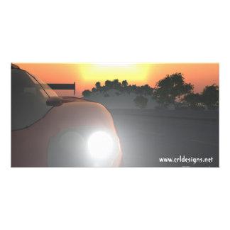 Car Sunset Photo Card