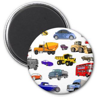 car truck firetruck bulldozer bus race cars more 2 inch round magnet