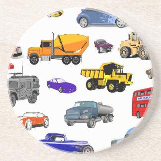 car truck firetruck bulldozer bus race cars more beverage coasters